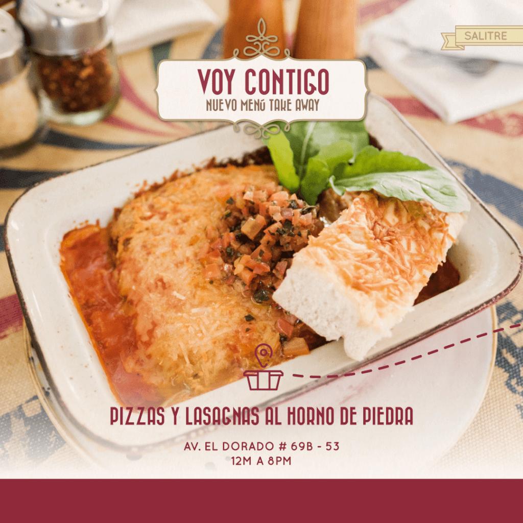 Menú Take Away de pizza y lasagna en Marriott Bogotá