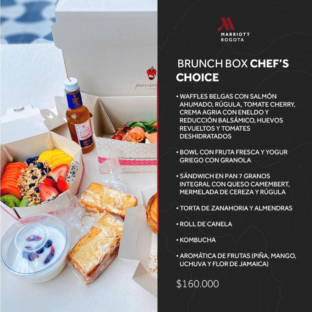 Brunch Box Chef's Choice para llevar en Marriott Bogotá