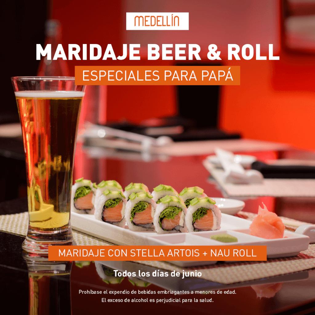 Cerveza gratis pidiendo un NAU Roll en Marriott Medellín